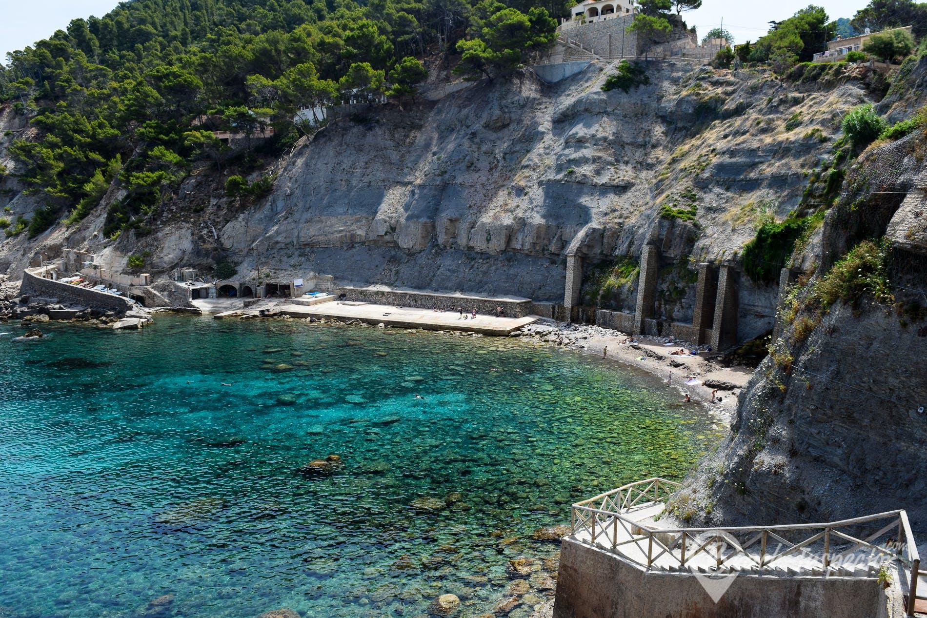 Strand Cala Banyalbufar, Mallorca, Spanien