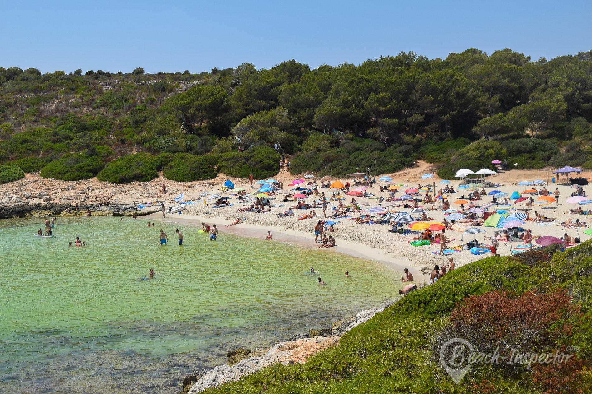 nudism jump Beach Cala Varques, Majorca, Spain
